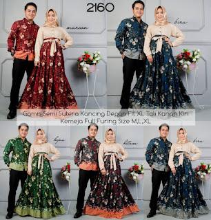 Jual Couple Gamis Sarimbit Batik Semi Sutera Lengan Panjang D2160