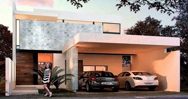 Plano de casa moderna con tres dormitorios planos de for Casa moderna 9 mirote y blancana