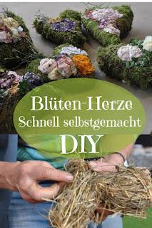 DIY Blütenherz aus Moos und Stroh