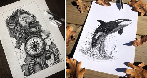 00-Gaspar-Animal-Stippling-and-Cross-Hatching-B&W-Drawings-www-designstack-co