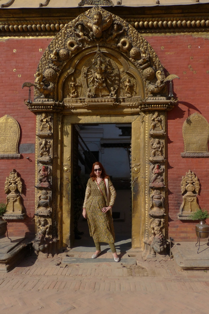 Posing at the Golden Gates of Bhaktapur