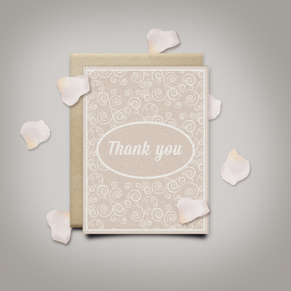 Thank you card with romantic pattern