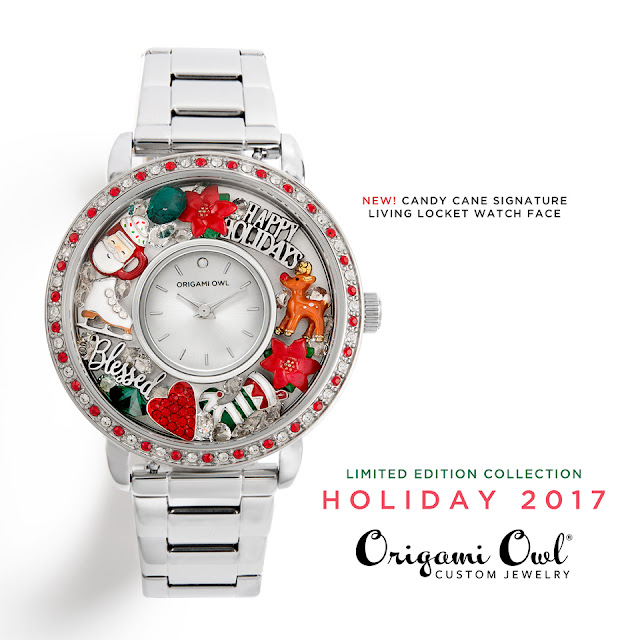 Origami Owl Candy Cane Signature Living Locket Watch Face available at StoriedCharms.com