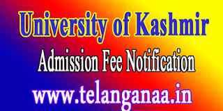 University of Kashmir B.Tech-2019 Admission Fee Notification