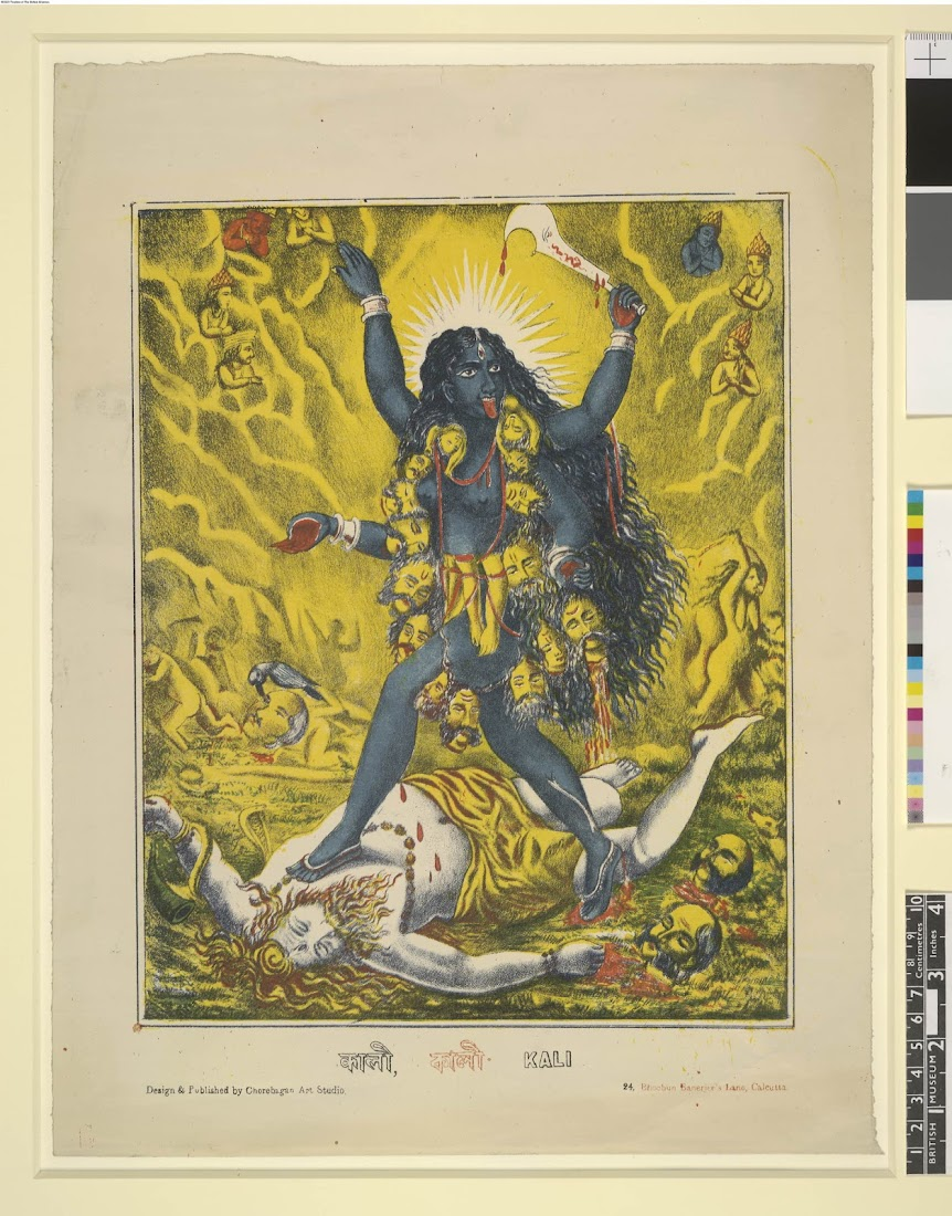 Goddess Kali on the battlefield, striding over a recumbent Shiva - Lithograph Print c1895