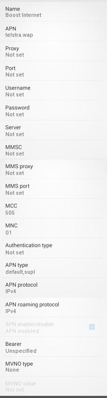Boost Mobile Australia APN Settings for Android