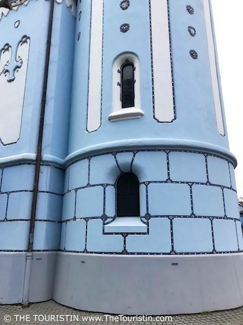 Facade of blue church St. Elizabeth in Bratislava in Slovakia