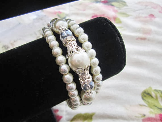 Bridal Cuff Bracelet - Pearl and Rhinestone Three Strand Bracelet