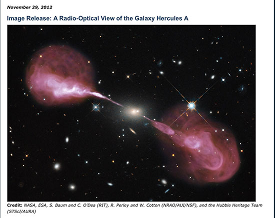 A Radio/opical view of galaxy Hercules A (Courtesy: NASA, ESA, RIT, NRAO and STSci)