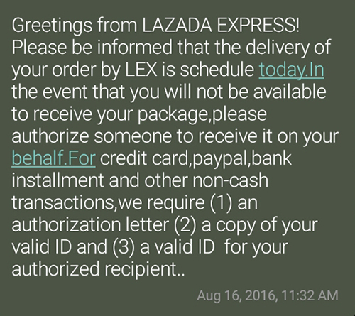 Lazada Delivery text confirmation
