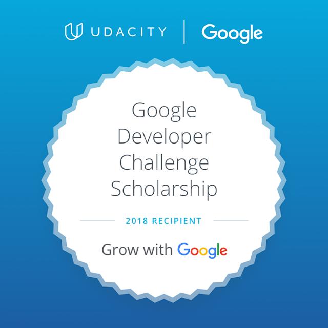 Udacity - Challenge Recipient - Developer Scholarship Recipient