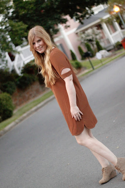 Tobi dress with TOMS wedges for working moms