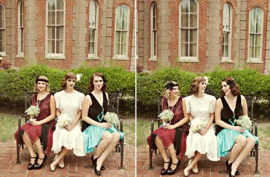 "Matrimonio ""Il grande Gatsby"", vintage bride and bridesmaids"