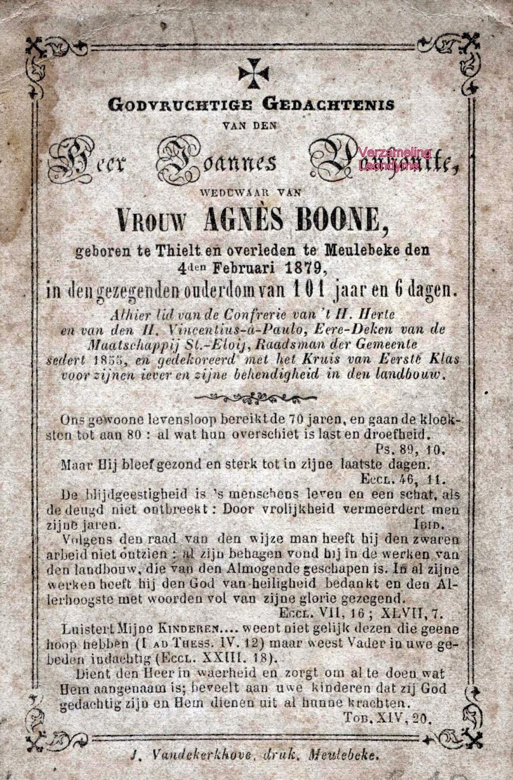 Bidprentje Joannes Vanhoutte 1778-1879. Verzameling Leondyme
