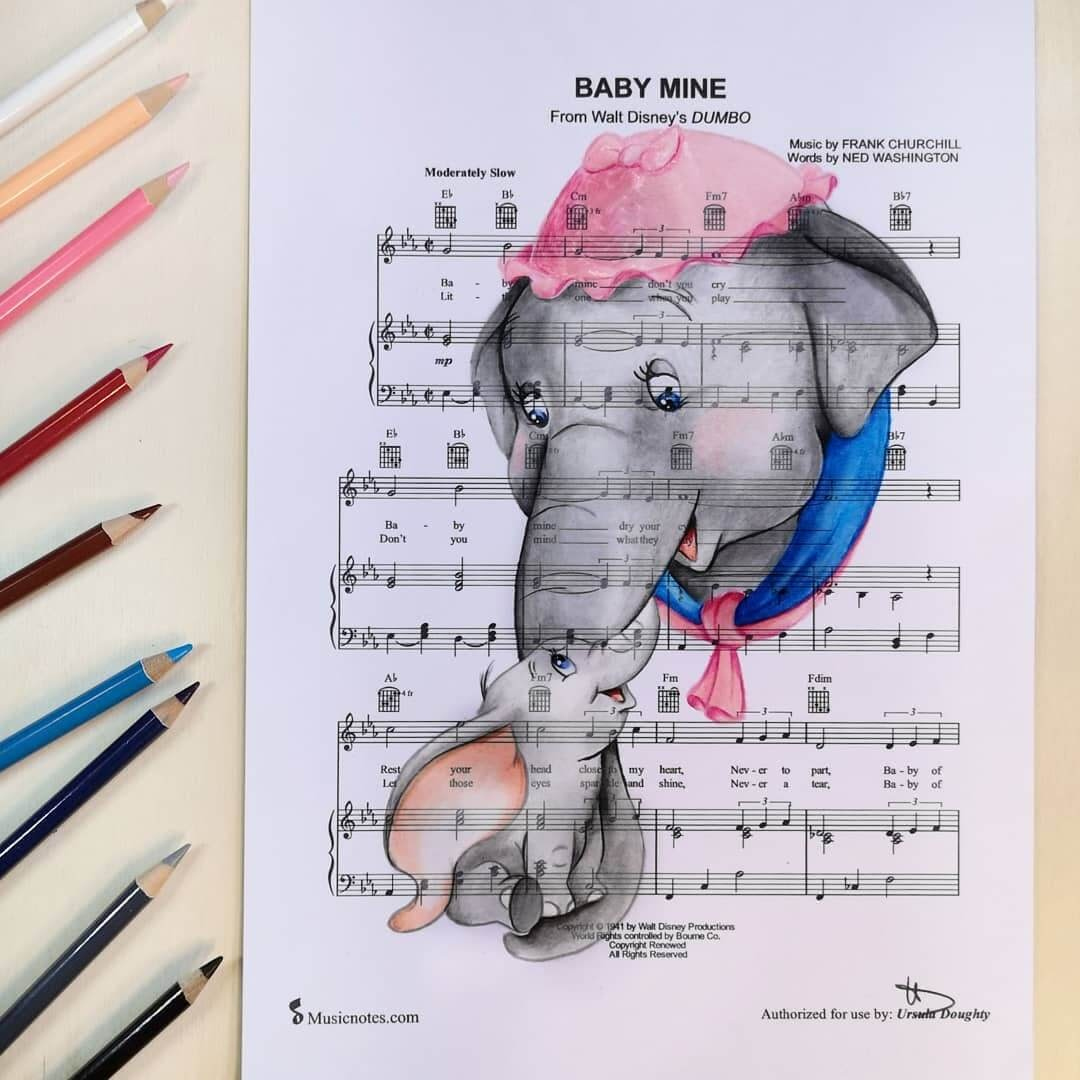 03-Dumbo-U-Doughty-Movie-Character-Drawings-on-Music-Sheets-www-designstack-co