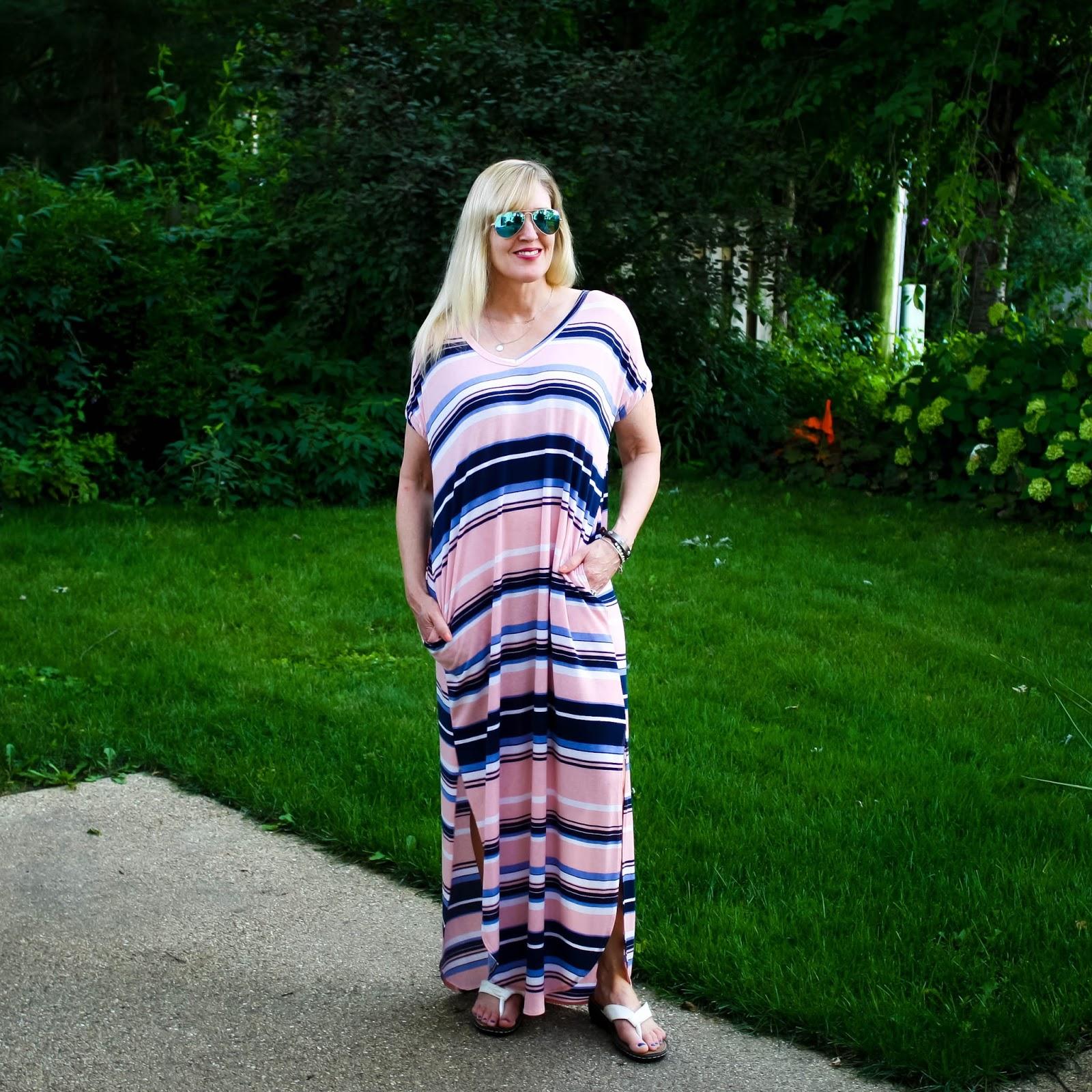 Blush and Navy Striped Maxi Dress