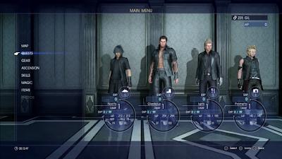 Menú Final Fantasy XV