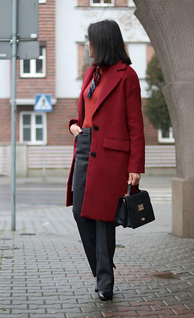 bordowy płaszcz jesien-zima 2018