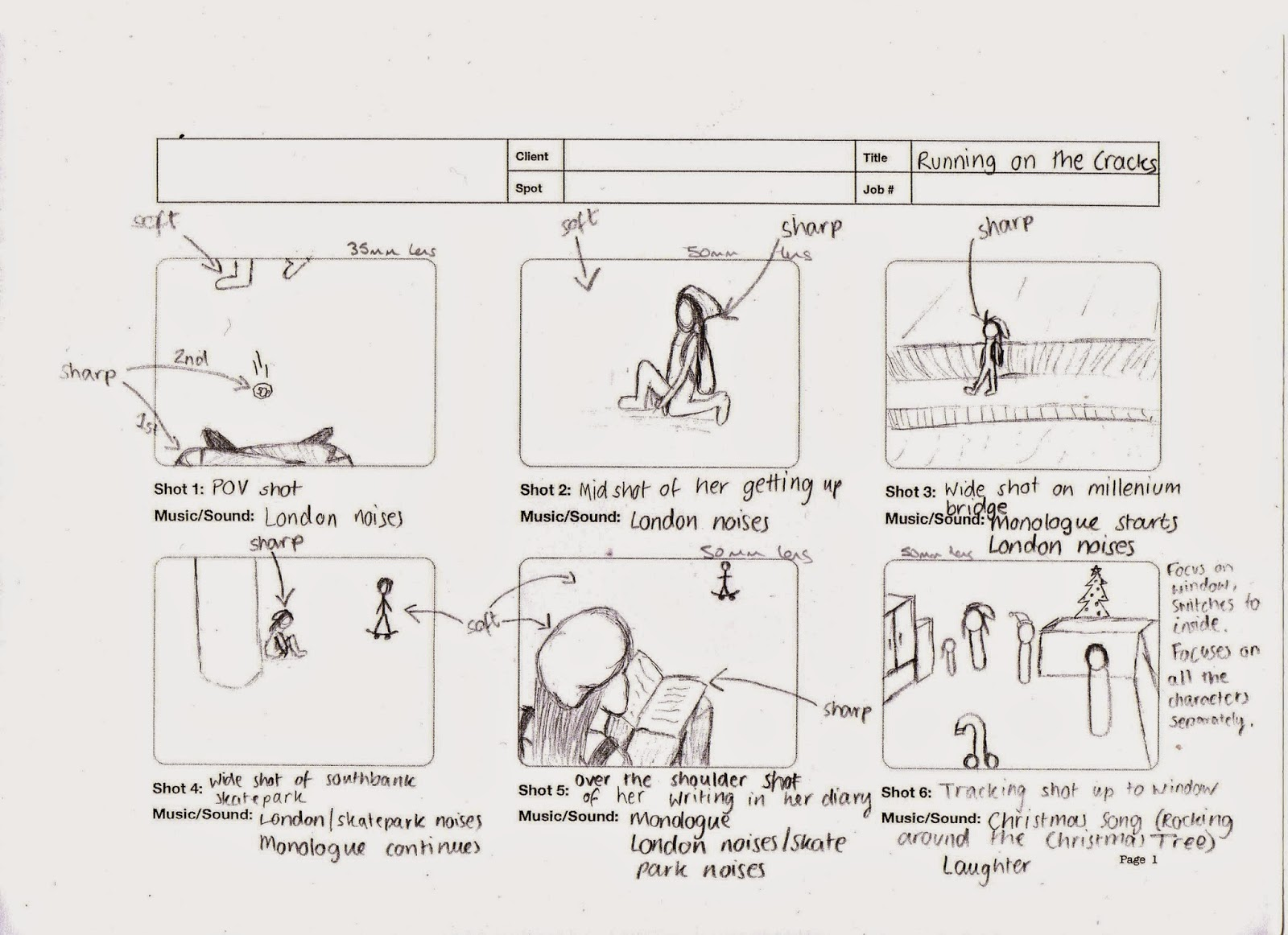 Onaisah's AS Media Blog: Drawing the storyboard