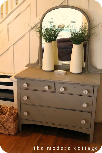 repainted chest with crystal knobs hardware annie sloan chalk paint idea