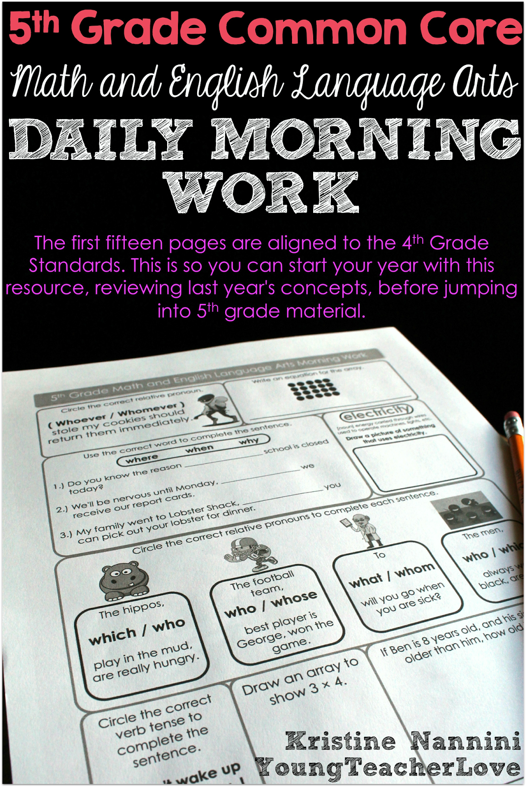 Morning Work Daily Review 5th Grade Common Core Math And