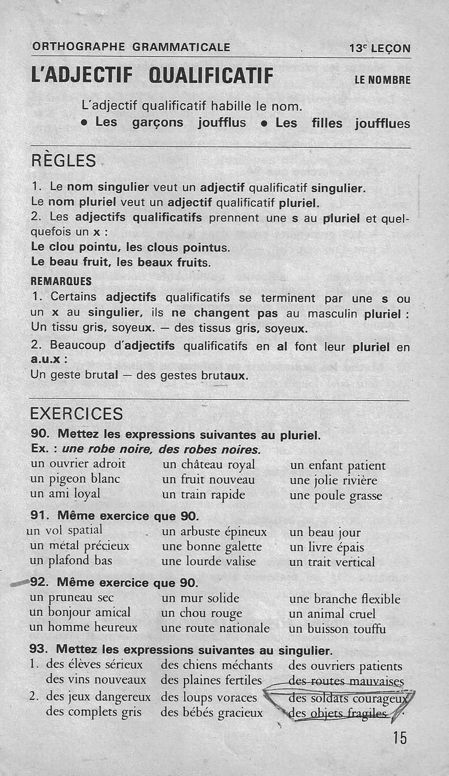 école : références: 12. et 13. L'adjectif qualificatif (Bled CE-CM1, orthographe grammaticale)
