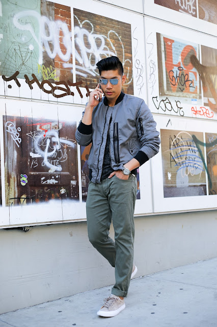 Leo Chan, Menswear Style wearing Hudson Jeans and Bomber Jacket, Todd Snyder PF Flyers Suede Sneakers