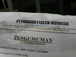 PT. Paragon Plastik Indonesia cikarang lippo