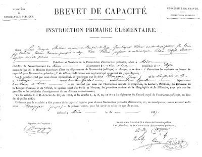 Brevet de Capacité de François Bourgogne, 31 mars 1837 (collection musée-copie AD71)