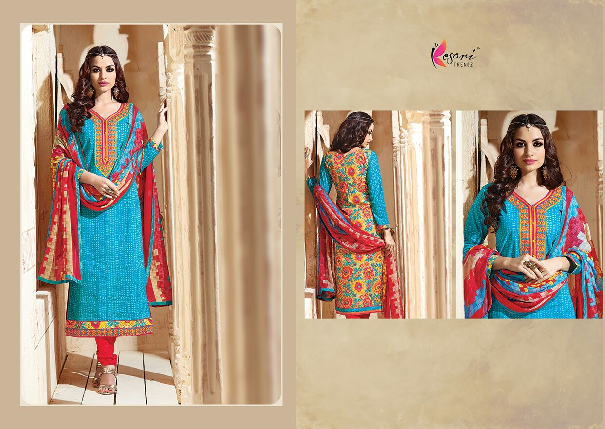 Kesari Aliya-7-Designer Heavy Cambric Cotton Dress material