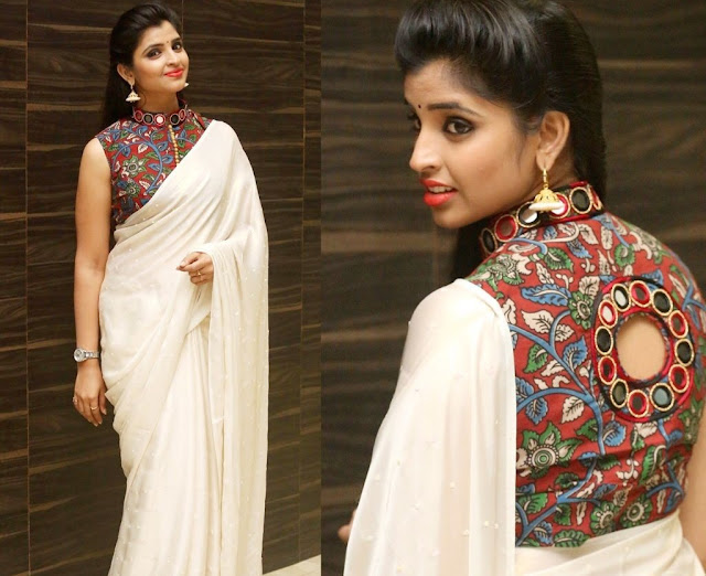 3cec91ba5fb4f The best way to balance out the colours in a kutch work blouse is to pair  it with plain sarees.