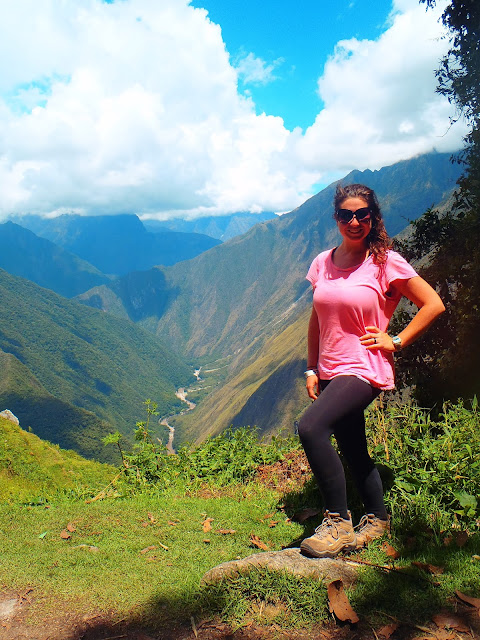 Girl hiking Inca Trail in Peru