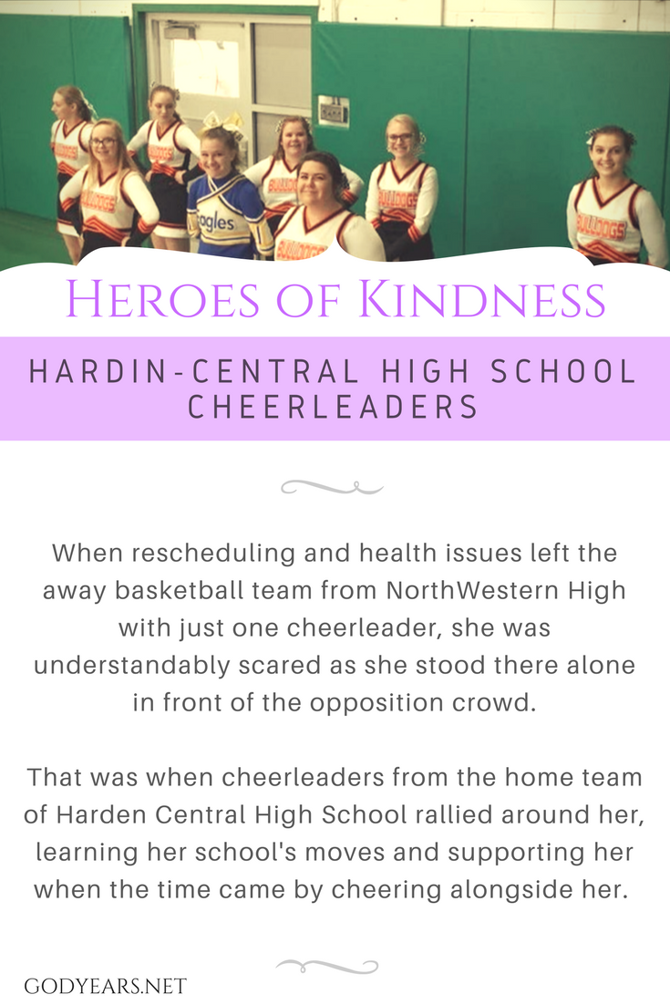 heroes of kindness: When rescheduling and health issues left the away basketball team from NorthWestern High with just one cheerleader, she was understandably scared as she stood there alone in front of the opposition crowd.  That was when cheerleaders from the home team of Harden Central High School rallied around her, learning her school's moves and supporting her when the time came by cheering alongside her.
