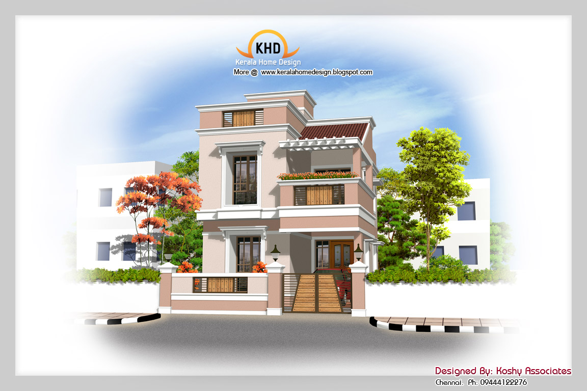 1600 sq ft duplex house elevation kerala home design for Modern house plans for 1600 sq ft
