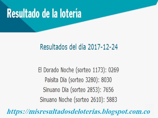 Como jugo la lotería anoche   Resultados diarios de la lotería y el chance   resultados del dia 24-12-2017