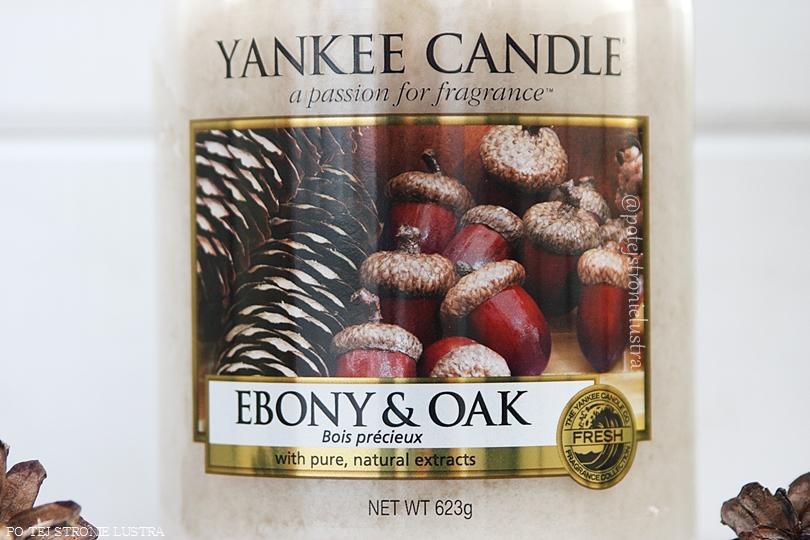 etykieta świecy yankee candle ebony & oak