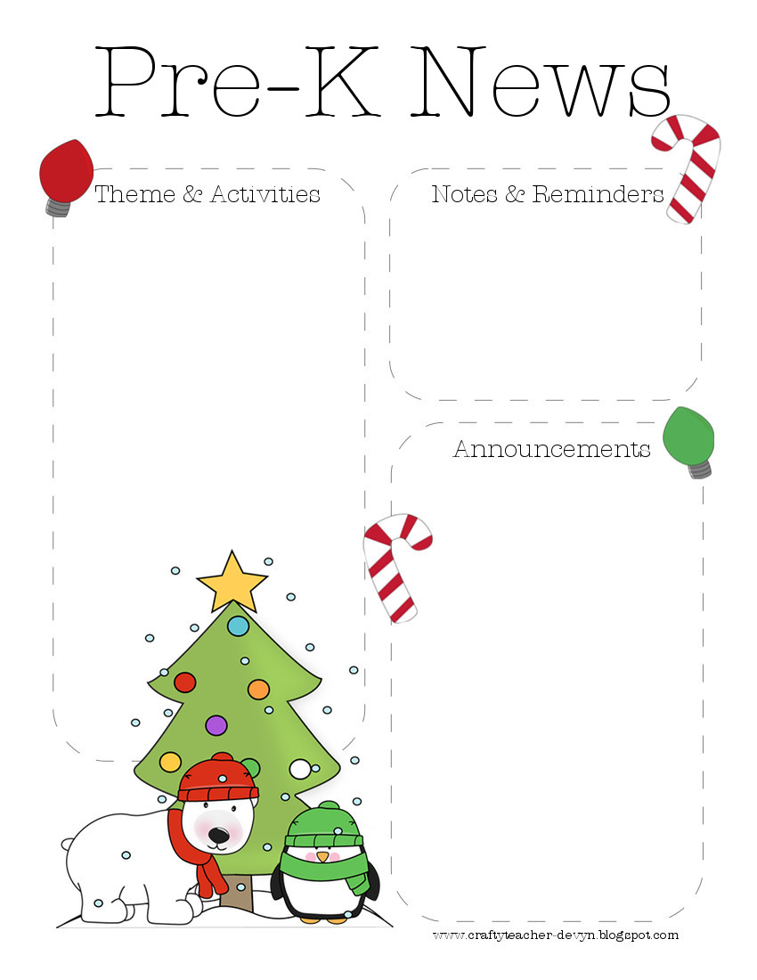 xmaspreknewsletter January Pre Newsletter Template Free on microsoft word, preschool classroom, christmas family,