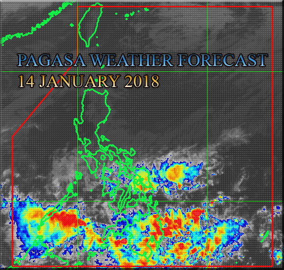 PAGASA Weather forecast as of 4:00 PM today, 14 January 2018. Above is the image satellite taken via HIMAWARI Satellite. Source Credit: PAGASA