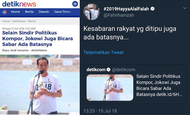 Telak! Sebut Sabar Ada Batasnya, Jokowi Disentil Fahri Hamzah
