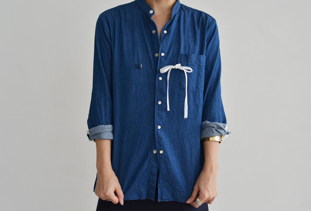 high and seek new ensou denim ribbon shirts. Black Bedroom Furniture Sets. Home Design Ideas