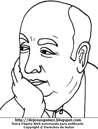 Imagen de Pablo Neruda pensativo para colorear, pintar o imprimir. Ilustración de Pablo Neruda de Jesus Gómez