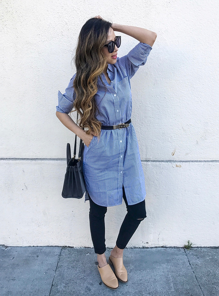 Everlane stripe shirt dress, karen walker super duper sunglasses, everlane babo, saint laurent sac de jour, 7fam baire denim, work outfit ideas