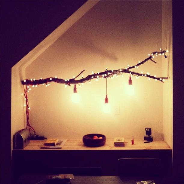 Decoracion DIY Navidad: Rama luces árbol