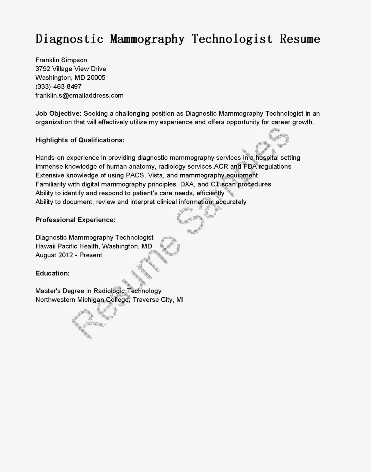 Free Sample Resume Template Cover Letter And Resume Resume Samples Diagnostic Mammography Technologist Resume
