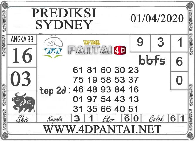 PREDIKSI TOGEL SYDNEY PANTAI4D 01 APRIL 2020