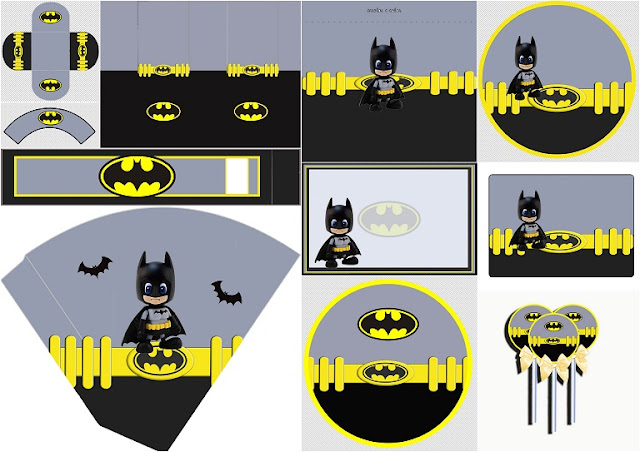 Batman Baby: Free Printable Labels, Free Party Printable and Box.