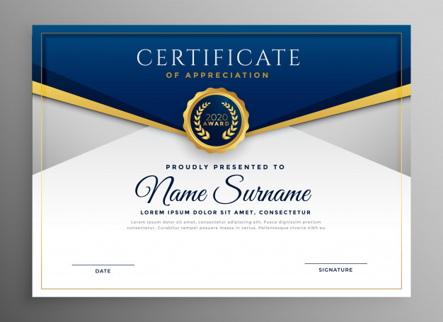 Elegant blue and gold diploma certificate template Free Vector