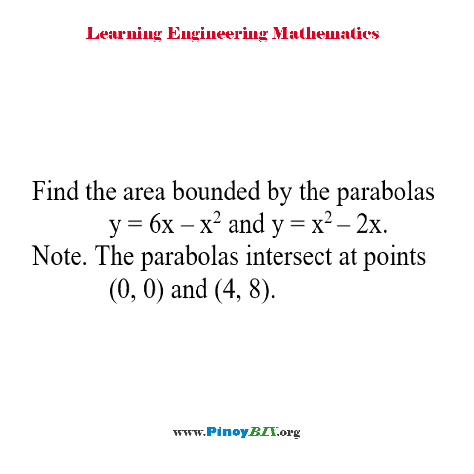 Find the area bounded by the parabolas y = 6x – x^2 and y = x^2 – 2x.