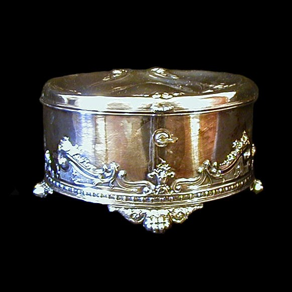 1880's Silver Jewelry Casket with Key, Simpson Hallmiller Co