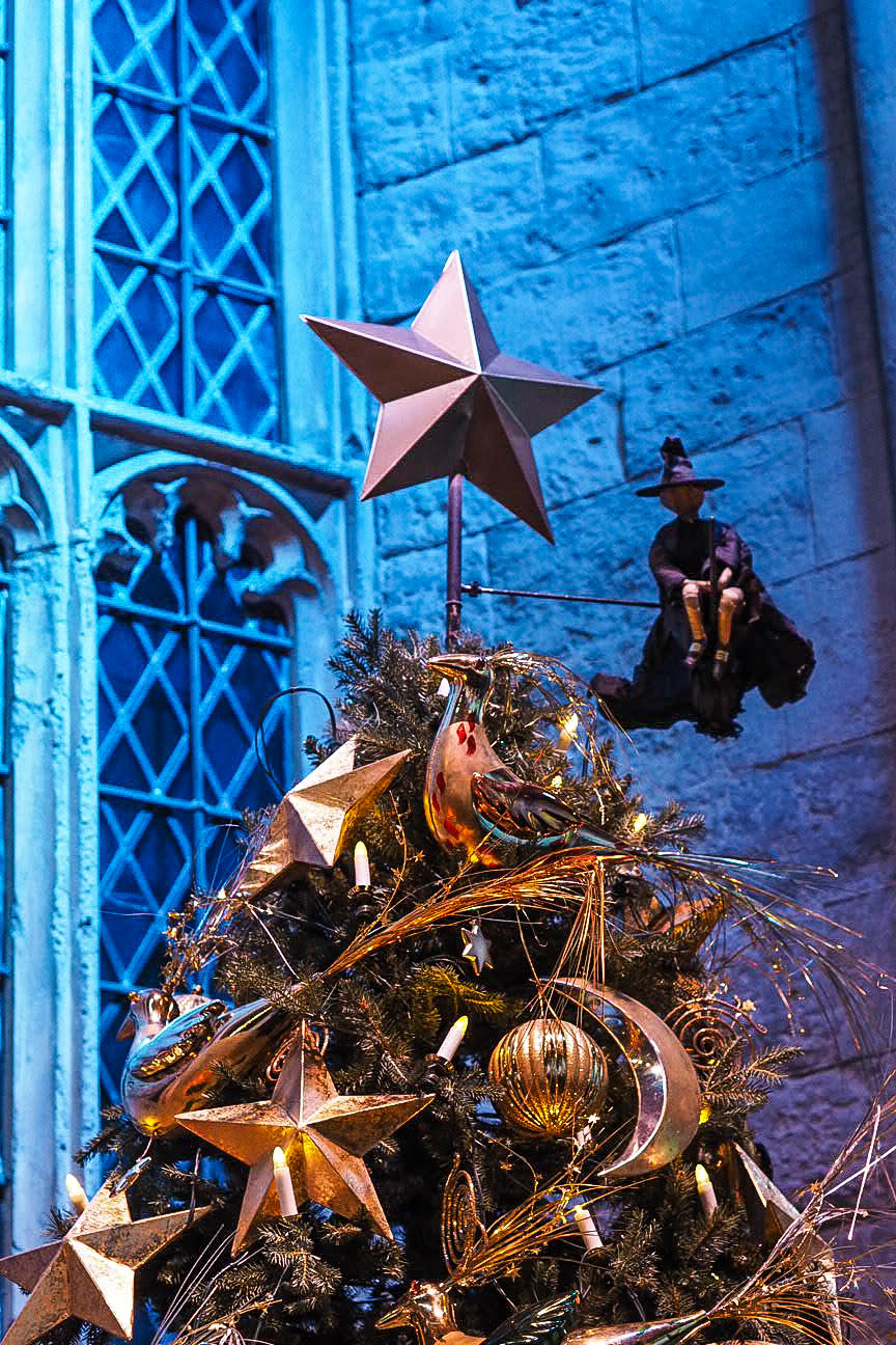 Christmas tree in Great Hall at Hogwarts in the Snow at Warner Brothers Studio Tour, London